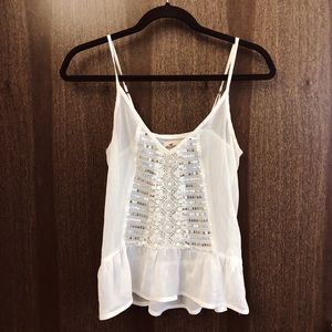 Hollister White Sequined See-Through Tank
